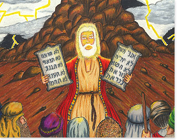 Moses returns with the ten commandments
